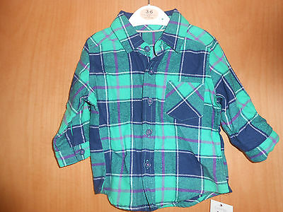 Lovely baby Boys Green and Blue Checked Shirt, BNWT George, 3-6 months