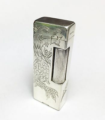 Sterling Silver Dunhill Rollalite Lighter, Dragon Engraved, Excelent Condition