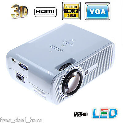 3000 Lumens 3D Full HD 1080P Home Theater Projector with 3D Glass HDMI/VGA/SD UK