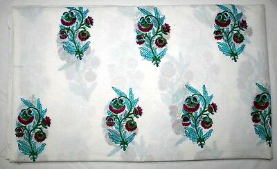 New Ethnic Sky-blue Floral Designer Cotton Fabric