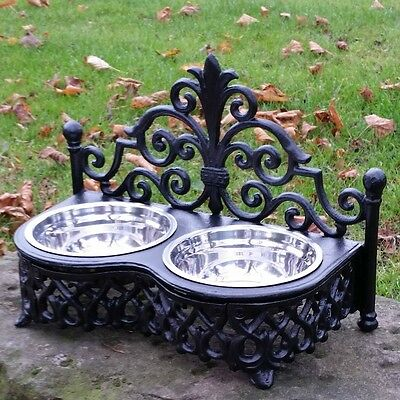 Dog Cat Pet Bowl Black Ornate Feeding Dish Metal Two Bowls Shabby French Chic