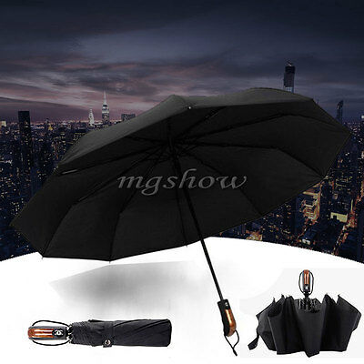 Wind Resistant Strong Auto Open & Close Windproof Vented Men's Black Umbrella UK