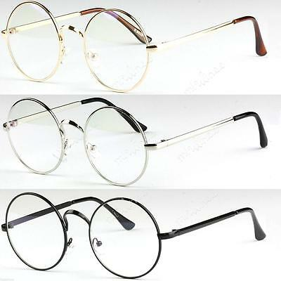Big Round Metal Frame Clear lens Vintage Retro Geek Fashion Glasses Specs Unisex