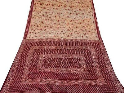 Vintage Indian Saree Pure Cotton Printed Fabric Used Craft Floral White Sari 5YD
