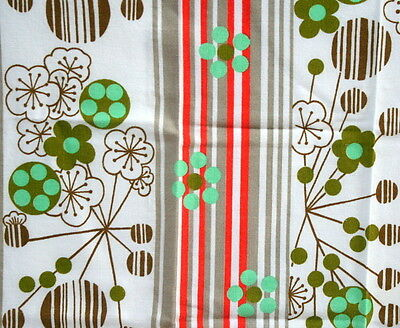 Linge de table nappe et serviettes vintage orange et vert