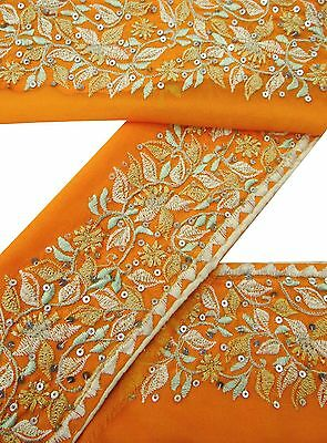 Vintage Sari Border 1YD Antique Used Embroidered Indian Trim Orange Ribbon Lace
