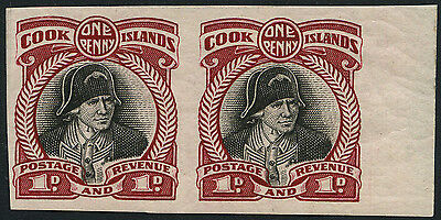 Cook islands SG 100 1932 1d Plate proof imperforate pair