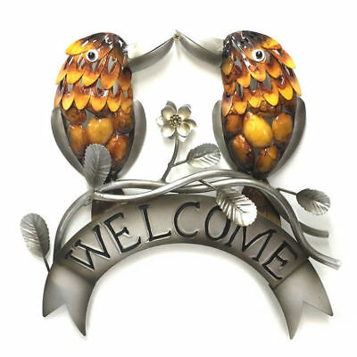 Parrot Metal Wall Art Welcome Sign Hanging Garden Ornament Iron Plaque 48cm