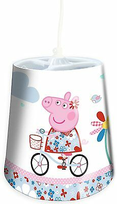 Childrens Peppa Pig Character Bedroom Lighting Tapered Shade - White