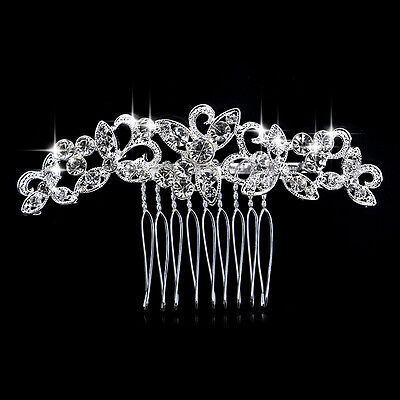 Rhinestone crystal butterfly bridal hair comb hair accessories wedding party
