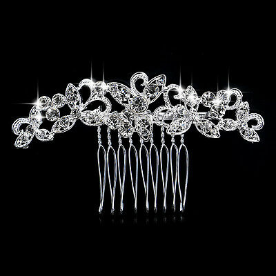 Rhinestone crystal butterfly silver plated bridal hair comb hair accessories A