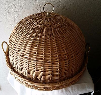 Rare Large Vintage Wick Wooden Bass Domed Food Cake Cover Picnic 16 x 9""