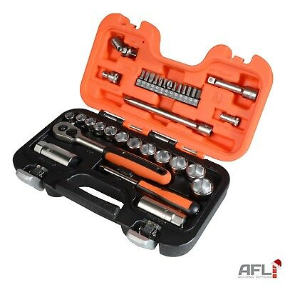 "Bahco 34 Piece 1/4"" & 3/8""Drive Metric Socket & Screwdriver Bit Set S330"