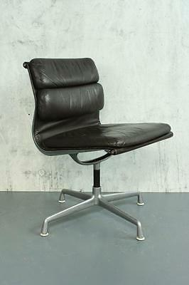 Vintage Eames Herman Miller Brown Leather Soft Pad Group Chair #1796