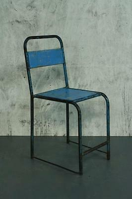 VINTAGE INDUSTRIAL BALINESE BLUE PAINTED CAFE CHAIR #1799a