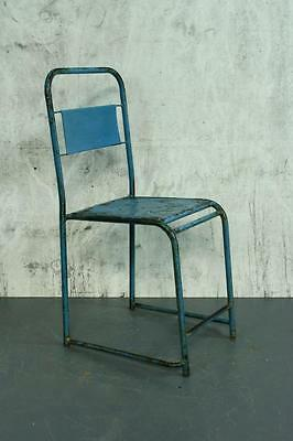 VINTAGE INDUSTRIAL BALINESE BLUE PAINTED CAFE CHAIR #1799c