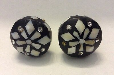 2 Mother of Pearl & Rhinestone Inlay Art Deco Drawer Pulls Black & White