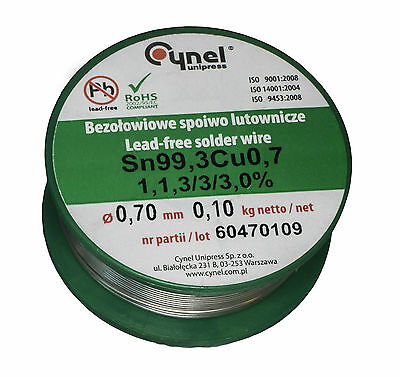 [100g] 0.7mm Solder Wire Lead-free SN99Cu1 HQ 3%Flux Multicored CYNEL