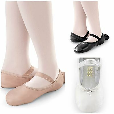 NEW Capezio Balera Pink Black White Full Sole Leather Ballet Shoes Child Sizes