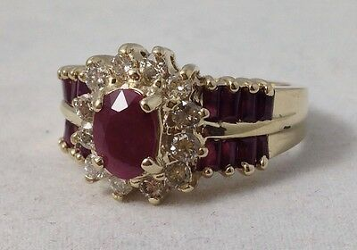 Natural Ruby & Diamond 14K Yellow Gold Ring Size 7