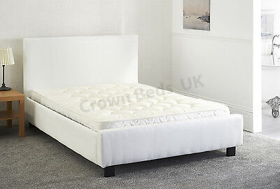 "Faux Leather  Miami  Upholstered Bed Frame In 4Ft"" Small Double White"