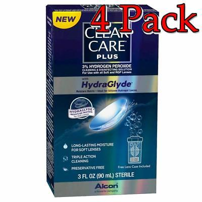 Clear Care Plus HydraGlyde Cleaning Solution, 3oz, 4 Pack 300650363426S435