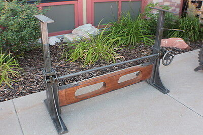 """61"""" L Iron crank dining base table industrial design adjustable old wood beam"""
