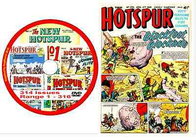 New Hotspur 314 Issues range 1 - 316 on DVD Brit Action Comic + viewing software