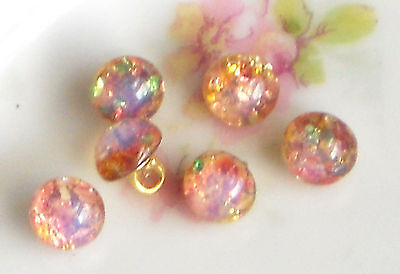 #1290I Vintage Glass Buttons Harlequin Fire Opal Doll Clothing Tiny Pink Rare