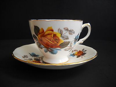 Vintage Royal Vale Tea Cup and Saucer Set - Ridgway Potteries - Dark Yellow Rose