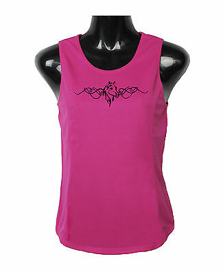 Horse Singlet Top Horse Head With Scrolling Brand New Moistuure Wicking