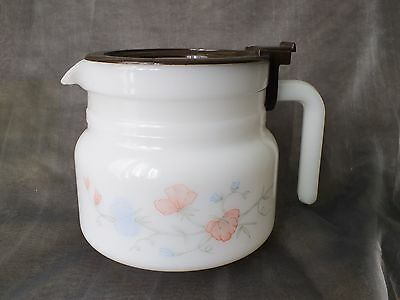 Vintage FRANCE ARCOPAL   WHITE Glass  Pitcher CAFE TEE FLOWERS