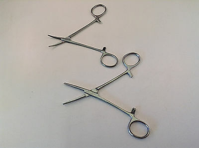 "2pc 5"" & 5.5"" Curved & Straight Locking Clamp Hemostat Forceps Stainless Steel"