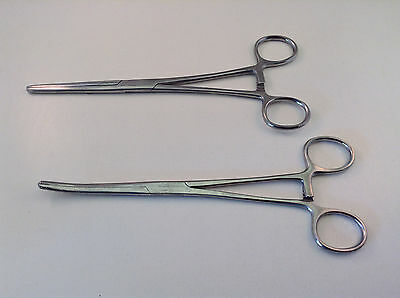 "2pc 8"" Curved & Straight Hemostat Forceps Clocking Clamps Stainless Steel"