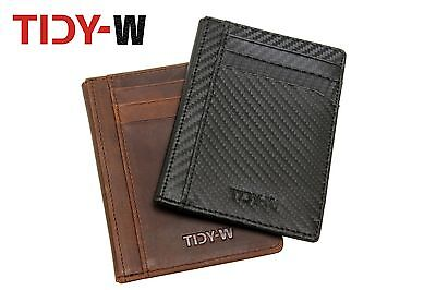 Tidy-W Real Leather Carbon Wallet Purse Pocket Holder Card Slim Credit Id Luxury
