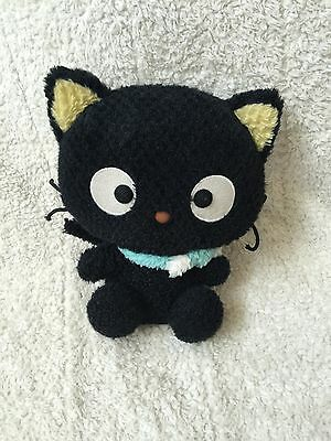 "SANRIO Black Stuffed Plush CHOCOCAT Cat Aqua Blue Scarf 2007 10"" Shimmery HTF"