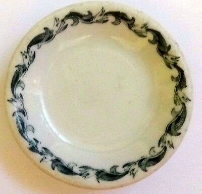 Vintage Butter Pat Buffalo China Prince  Restaurant Style White W Green Trim