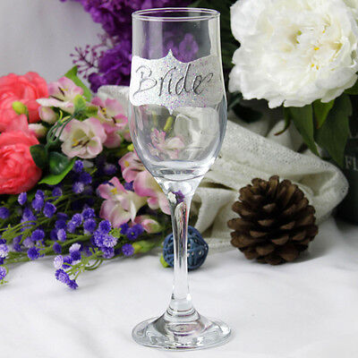 Bride White Vintage Glass Flute- Wedding, Engagement Gift