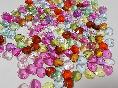 200pcs 10mm Acrylic Top Drilled Faceted Charm HEART Beads ASSORTED MIXED Charms