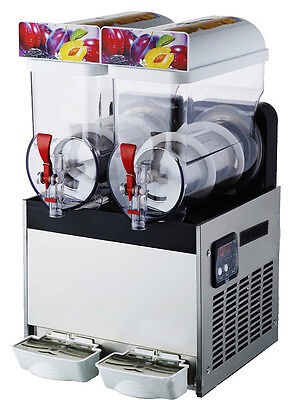 Commercial  2Tank Frozen Drink Slush Slushy Making Machine Smoothie Maker 30L US
