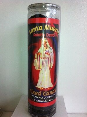 Holy Death Prepared / Scented 7 Day Black Candle In Glass (Santa Muerte Negra)