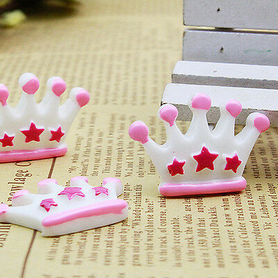 30pcs White Star Crown Resin Flatback Hair Accessories DIY Craft Decoration
