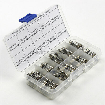 10 Values 100pcs 250V 0.1 0.2 0.5 1 2 3 4 5 10 12A Glass Fuse kits 5*20mm /w Box