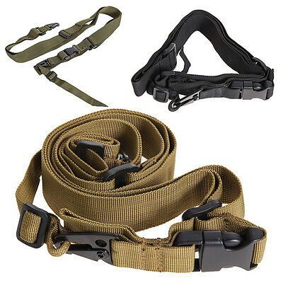 Adjustable Hunting 3 Point Sling Bungee Tactical Strap System For Rifle Gun
