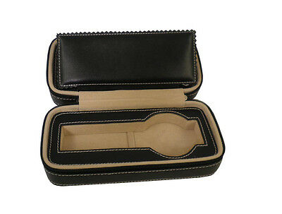 Luxury Genuine leather travel watch case black wristwatch roll  for 2 watches