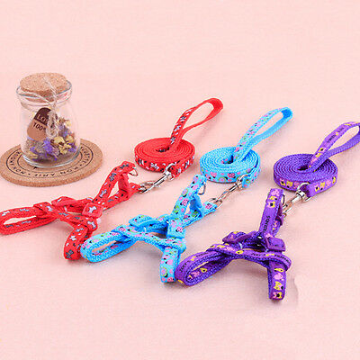 Colorful Small Dog Pet Puppy Adjustable Nylon Harness Lead Leash Traction Rope