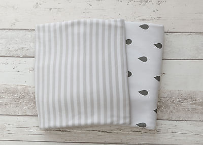NEW 2 piece fitted cot sheet set - Grey stripes & raindrops