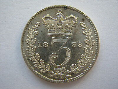 1838 Young Head silver Threepence GEF