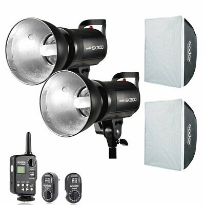 600W 2x Godox SK300 300w Studio Strobe Flash Light Head Trigger Softbox Kit 110V