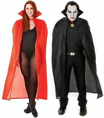 "Long Red Black 56"" Dracula Vampire Cape Halloween Fancy Dress Costume"